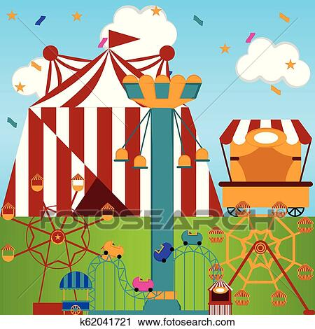 View Of A Carnival Theme Park Clipart