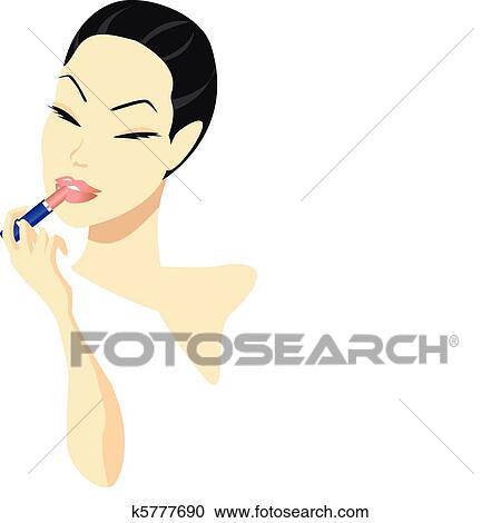 女 メイクアップを応用する クリップアート切り張りイラスト絵画