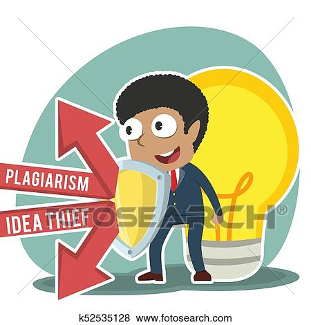African businessman protecting his idea with shield Clip Art