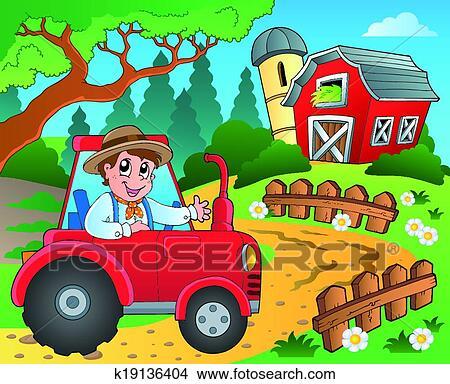 Clipart Bauernhof Thema Mit Rote Scheune 9 K19136404 Suche