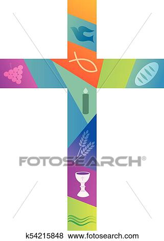 clip art of colorful christian cross with christian symbols rh fotosearch com Christian Trinity Symbol Cool Christian Symbols