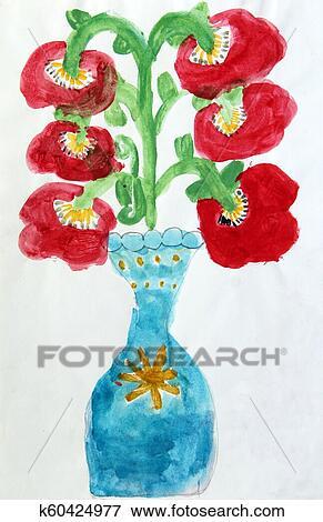 Vector A Flor Estilizado Infantil Pastel Do Oleo Da Ilustracao
