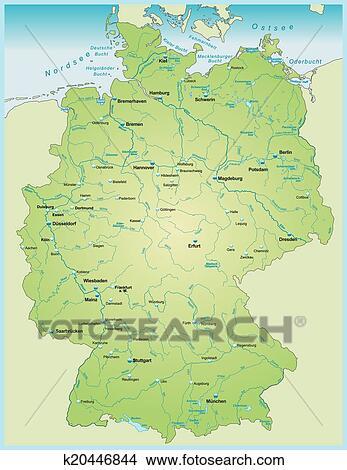 Deutschlandkarte Mit Wasser Vernetzung Clipart K20446844