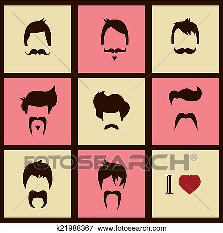 Stock Illustration Of Hipster Hair Styles And Mustache K21988367
