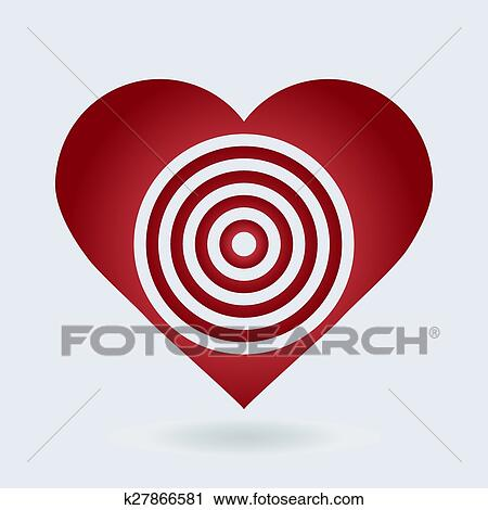 red and white heart target icon love aim concept clipart k27866581 fotosearch stock photography