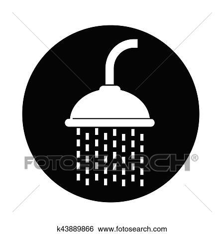 Clip Art Of Showerhead Icon K43889866 Search Clipart Illustration
