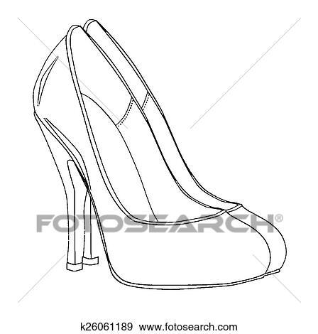 e3a30df80 كعب stiletto, رسم Clip Art | k26061189 | Fotosearch