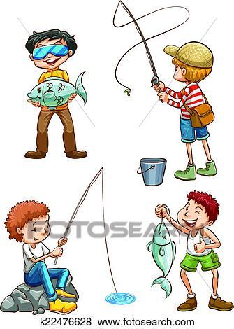 مخطط بسبب الرجال صيد السمك Clip Art K22476628 Fotosearch