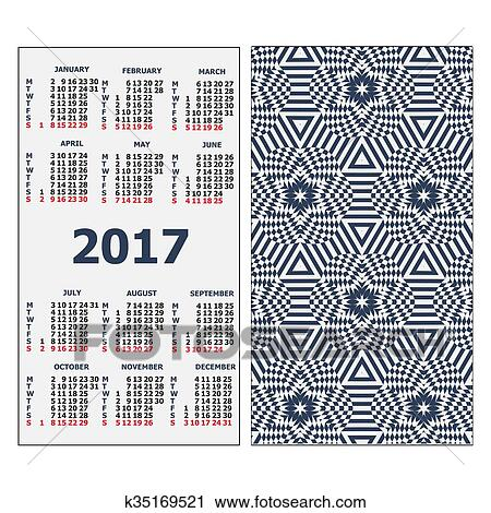 2017 Pocket Calendar Template Grid Vertical Orientation Of Days Week Vector Ilration