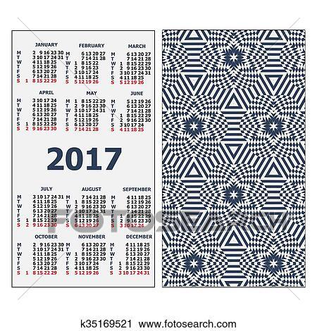 2017 Pocket Calendar Clipart K35169521 Fotosearch