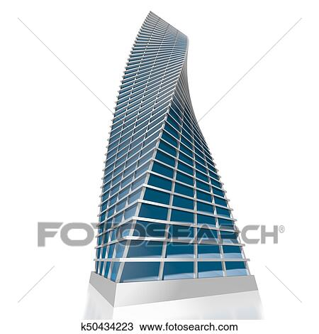 3d Office Building Drawing K50434223 Fotosearch