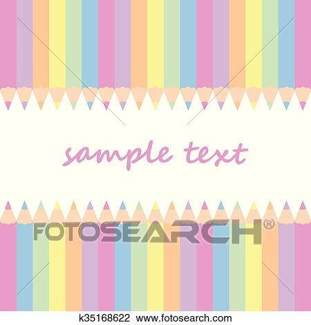 baby postcard background with colored pencils and vertical stripes in pastel colors