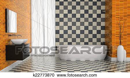 Zwart Wit Tegels : Stock illustraties binnenste van hippe badkamer met zwart