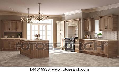 Clásico, cocina, elegante, diseño de interiores, con, de madera ...