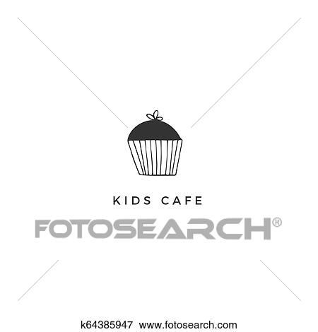 Cupcake premade logo template  Vector hand drawn illustration  Clip Art