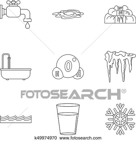 Different water form icon set, outline style Clipart