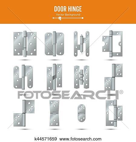 Clip Art Of Door Hinge Vector Set Classic And Industrial