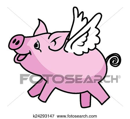 clip art of flying pig k24293147 search clipart illustration rh fotosearch com Flying Pig Coloring Pages flying pig clip art pattern