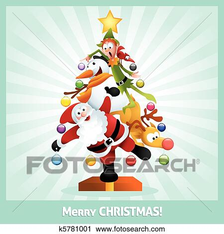 clipart funny christmas card cartoon collage fotosearch search clip art illustration murals - Funny Merry Christmas Greetings