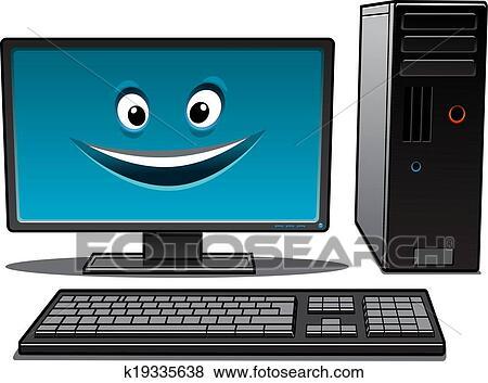 Clipart heureux dessin anim ordinateur bureau for Grand bureau ordinateur