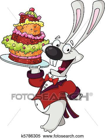 Clipart Lustig Kanninchen Mit Kuchen K5786305 Suche Clip Art