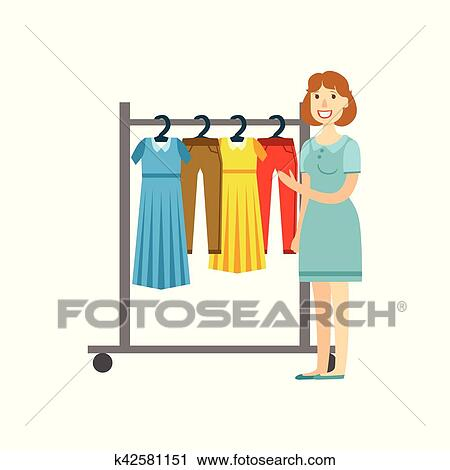 d3a759086eab Clipart - shopping donna, per, abbigliamento, centro commerciale, e, grande  magazzino