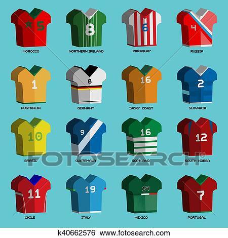 bac215decc3 Football Soccer Baseball Volleyball Team Sportswear Uniform. Stylish design  for players t-shirts front view. Vector Illustration.
