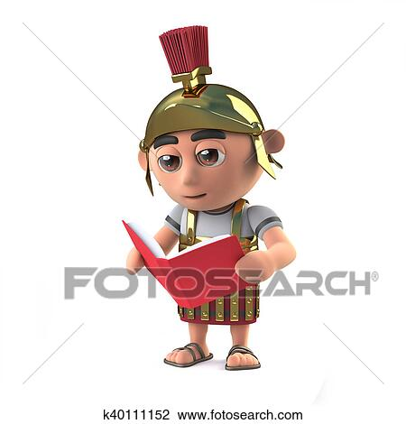 clip art of 3d roman soldier reading a book k40111152 search