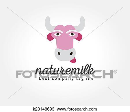 drawing of abstract vector cartoon cow head logo icon concept