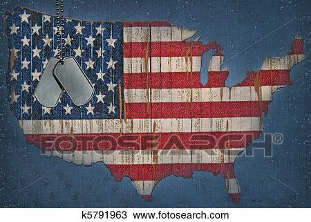 American Flag Map Drawing K5791963 Fotosearch - American-flag-us-map