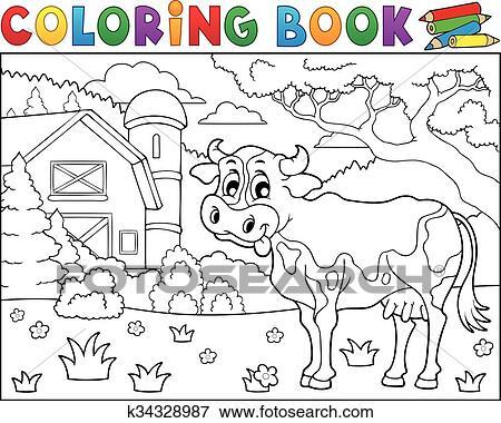 Clip Art Ausmalbilder Kuh Bei Bauernhof Thema 2 K34328987
