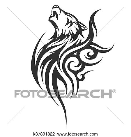 4439707e1 Clip Art Of Black Wolf Tattoo Illustration K37891822 Search