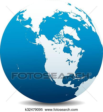 Map Of The World Globe View.Canada North America World Globe Clipart