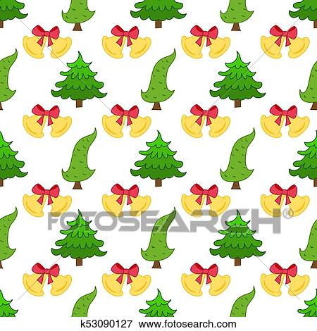 Cartoon Christmas seamless pattern with bell and Christmas tree. Winter  background, decorative wrapper, texture, textile. Seamless festive pattern