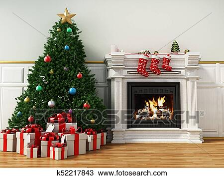 Burning Christmas Tree.Christmas Tree Beside Burning Fireplace 3d Illustration Drawing
