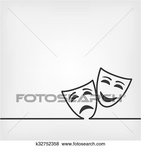 clip art of comedy and tragedy masks white background k32752358