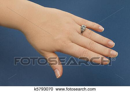 Which Hand Wedding Ring Female.Engagement Ring Female Hand Stock Image