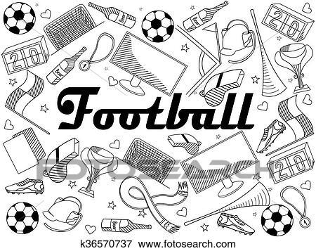 Football Coloring Book Vector Illustration Clip Art K36570737 Fotosearch