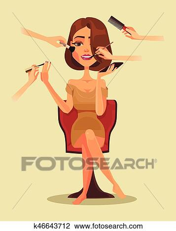 Happy Smiling Woman Character In Beauty Salon Vector Flat Cartoon Illustration Clipart K46643712 Fotosearch