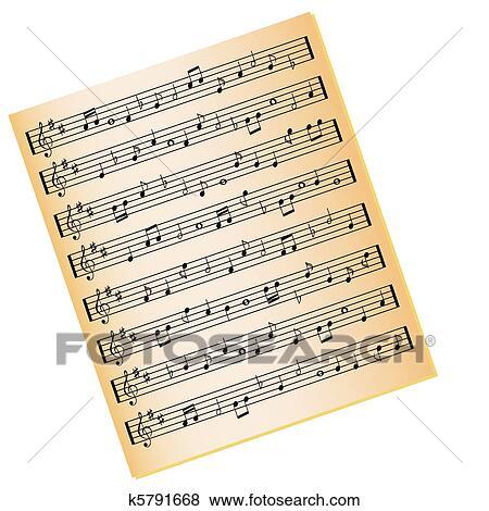 Clip Art - música hoja k5791668 - Buscar Clip Art, Ilustraciones de ...