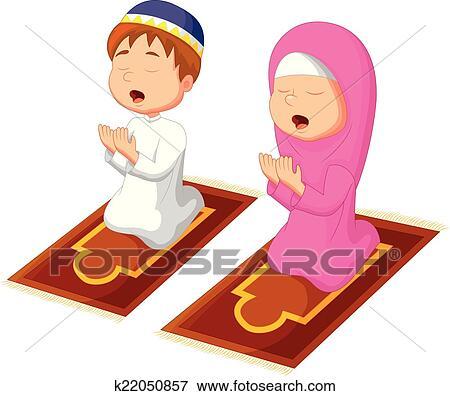 clip art of muslim kid praying k22050857 search clipart rh fotosearch com muslim family clipart muslim clip art free