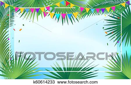 Palm Tree Leaves Tropical Frame Sukkot Decoration Drawing K60614233 Fotosearch