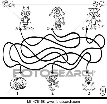 Pfade Labyrinth Mit Kinder Ausmalbilder Clip Art