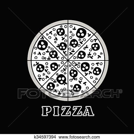 Clipart Pizza Italien Abbildung In Schwarz Weiß K34597394