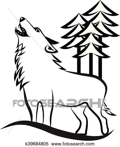 Clipart Of Wolf Howling Logo K39684805 Search Clip Art