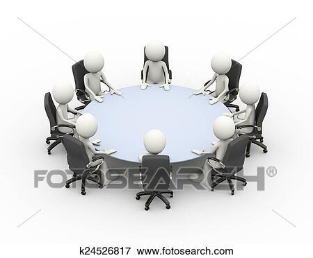 3d 人々ビジネス ミーティング 会議テーブル イラスト K24526817