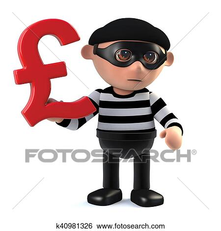 Stock Illustration Of 3d Burglar Has Uk Pounds Sterling Currency