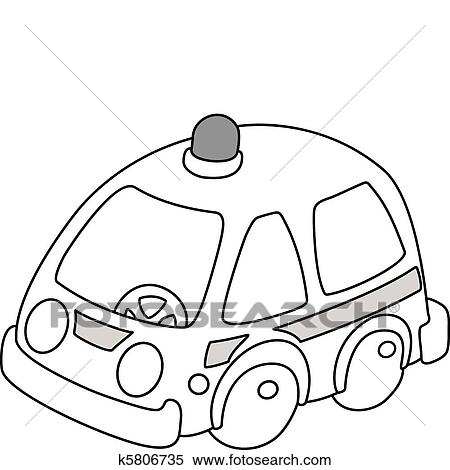 Clipart Of Ambulance Car Outlined K5806735
