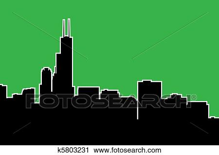 clipart of chicago skyline silhouette k5803231 search clip art