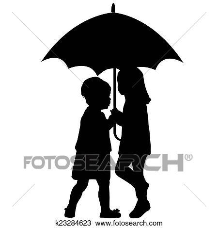 Deux Petites Filles Sous Une Parapluie Dessin